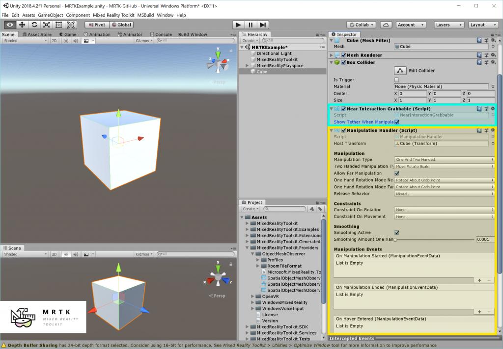 MRTK 101:如何使用混合现实工具包Unity进行基本交互(HoloLens 2,HoloLens,Windows混合现实,Open VR)